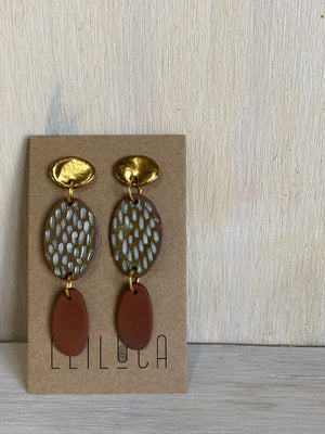 Gold terracotta texture stud drop 2- Summer Collection