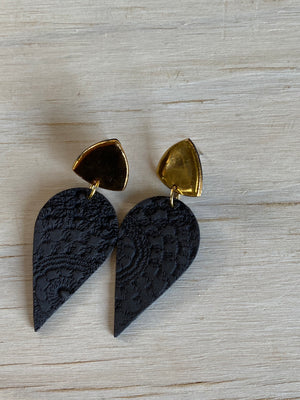 Gold Midnight Lace leaf stud drop