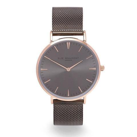 OXFORD LARGE MESH GUN METAL WATCH