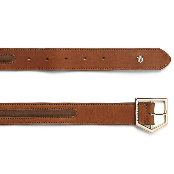 THE HAMPTON TAN LEATHER AND SUEDE BELT - Fairfax & Favor