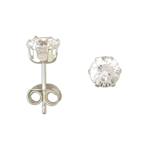 Cubic Zirconia & Silver Stud Earrings