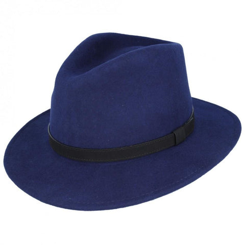 Wool Fedora Hat - Navy