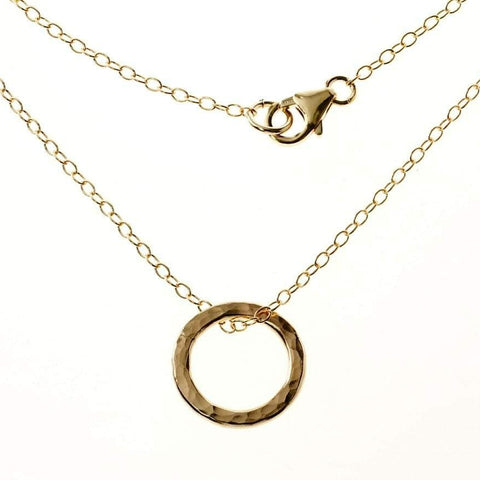 Simple Gold Hammered Circle of Life Necklace