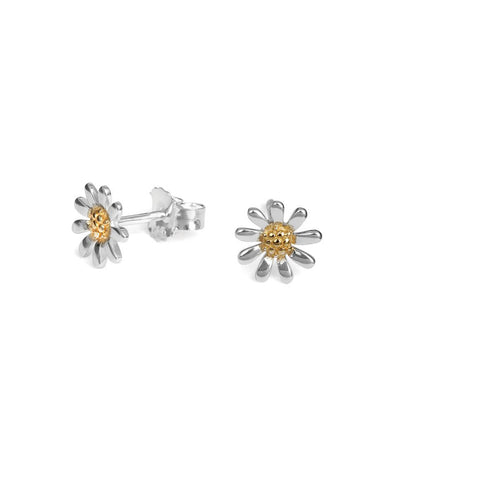 Sterling Silver Daisy Earrings 8mm