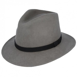 Wool Fedora Hat - Grey