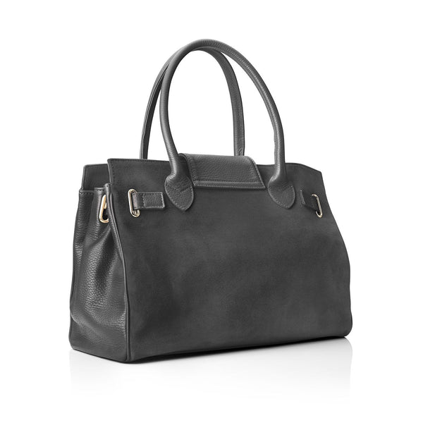 THE WINDSOR GREY LEATHER AND SUEDE HANDBAG - FAIRFAX & FAVOR