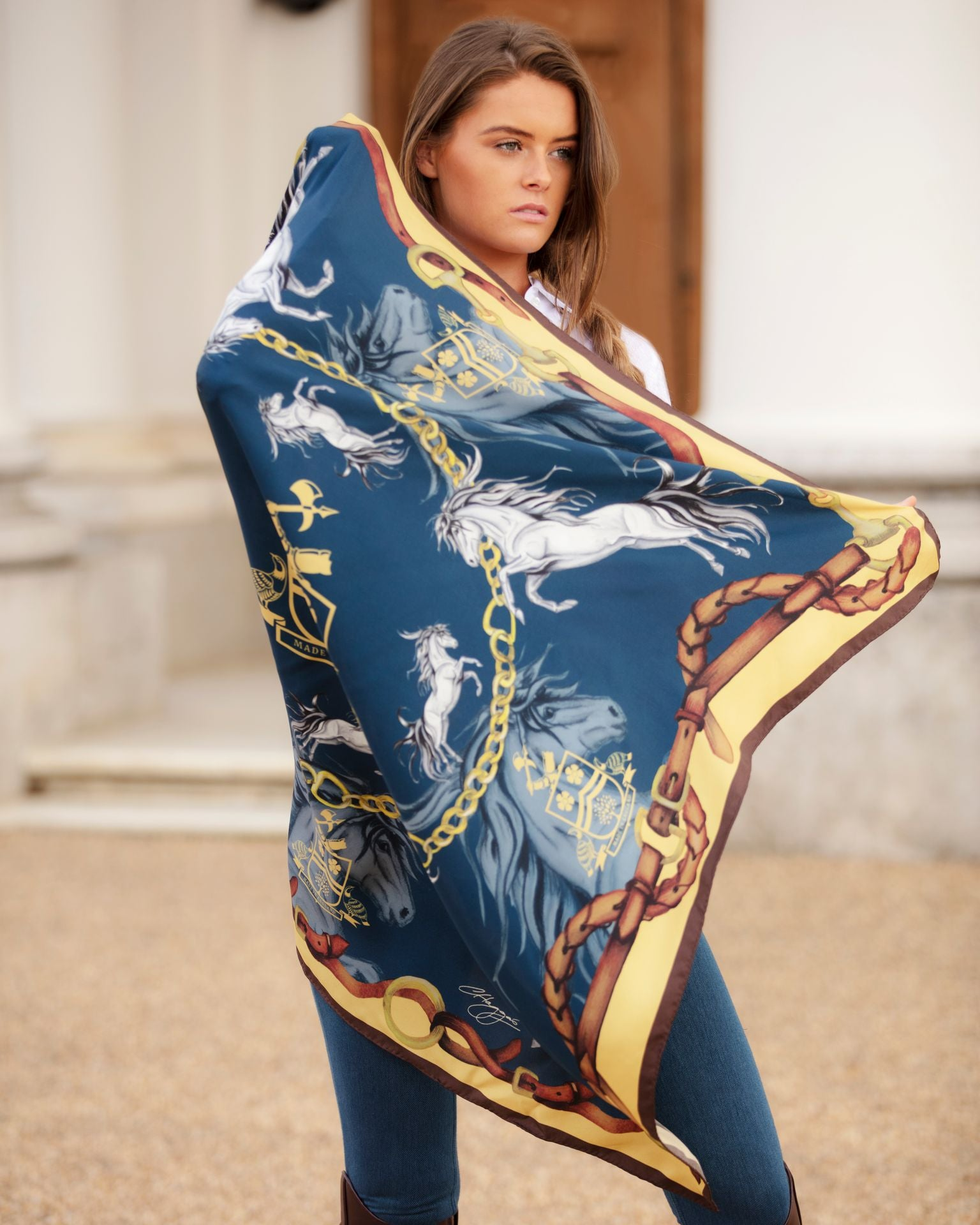 Hold Your Horse Silk Scarf by Clare Haggis - Navy & Gold