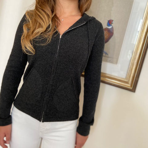 100% Pure Cashmere Hoodie Zipped - CHARCOAL