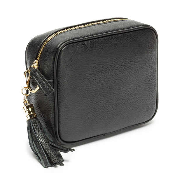 CROSSBODY BLACK ITALIAN LEATHER  INTERCHANGEABLE SILVER CHEVRON STRAP)