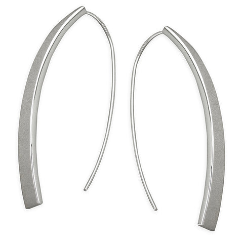 Sterling Silver Long Flat Tube with Large hook Earrings