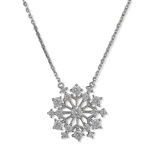 Sterling Silver Star Cluster/Snowflake Pendant on Silver Chain