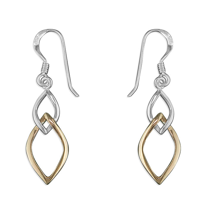 Sterling Silver and Rose Gold Plated Drop Earrings