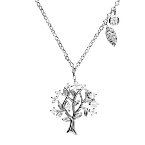 Sterling Silver Tree of Life Pendant with Cubic Zirconia Stones