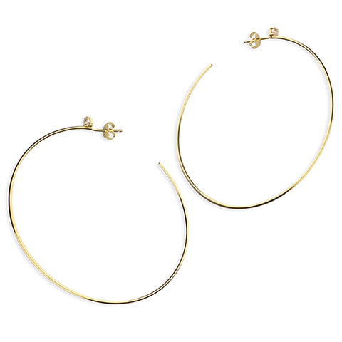 Large Gold Plate on Sterling Silver Hoop Earrings with Freshwater Pearl