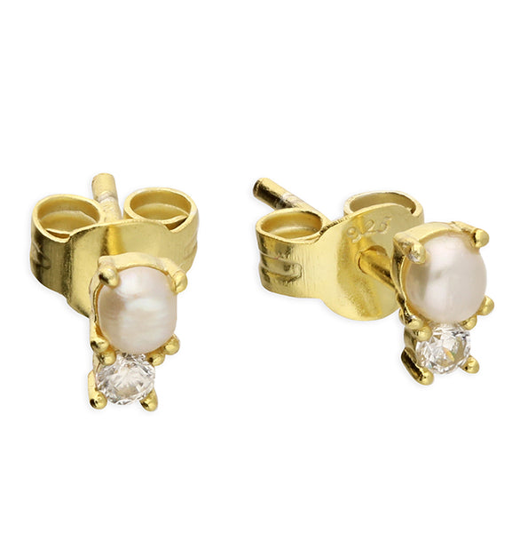 Small Gold Plated Freshwater Pearl & Zirconia Stud