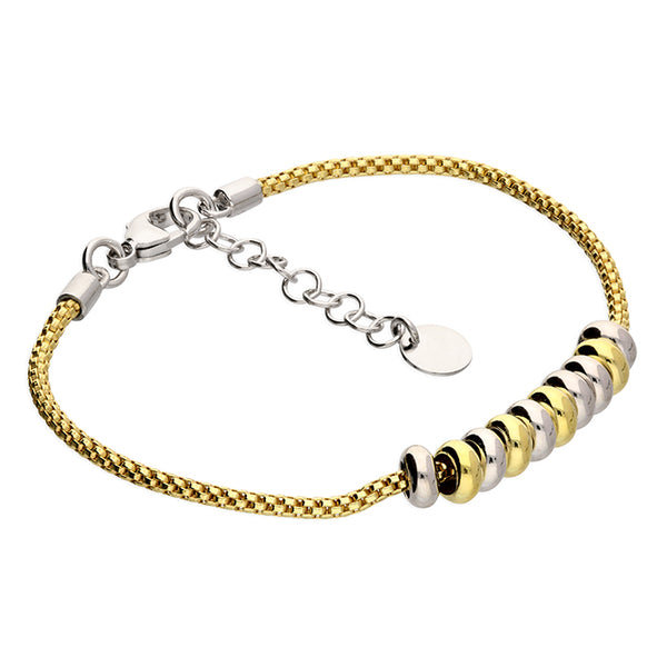 Silver and yellow gold-plated 2 tone beads on gold-plated mesh chain