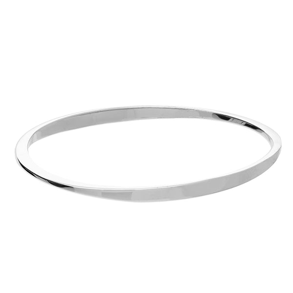 Sterling Silver Bangle Flat tapered oval slave