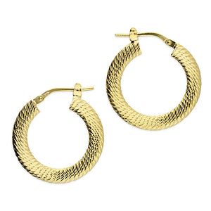 Sterling Silver with Gold Plated Textured Hoop Earring