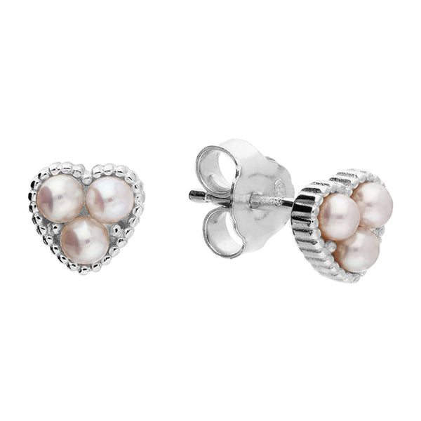 Sterling Silver Heart Stud with 3 Freshwater Pearls