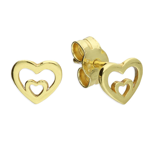 Small yellow gold plated double heart stud