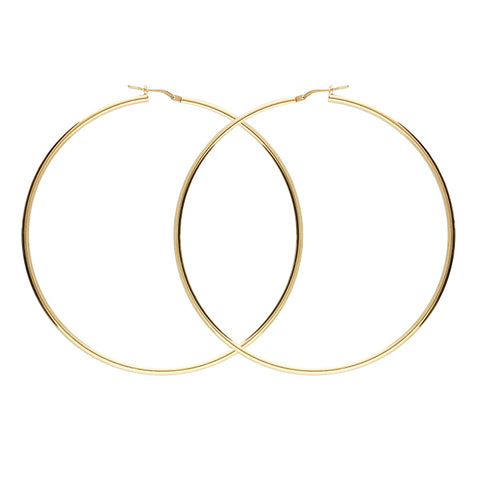 70mm Yellow Gold Plated Hinged Hoop on Sterling Silver