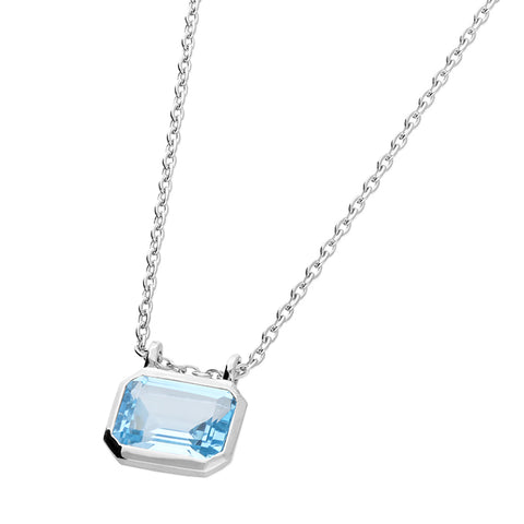 Blue Topaz Pendant on Sterling Silver Chain