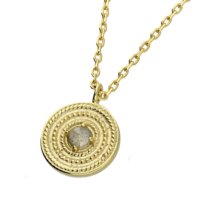 Gold Pendant & Chain with Labradorite Gemstone