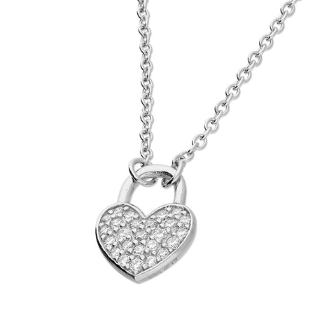 Sterling Silver cubic zirconia Heart Padlock on Silver Chain