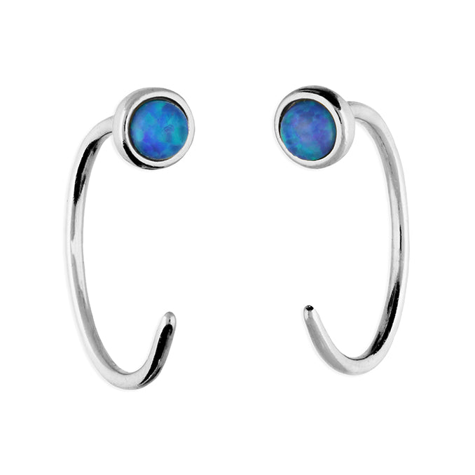 Sterling Silver Blue Opal pull through Hoop Earring