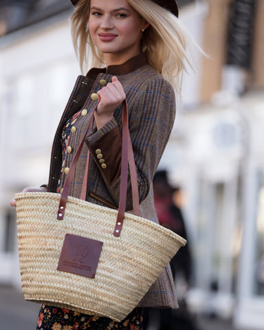 The Chelsea (Walnut) Woven Basket Tote - Henrietta Spencer