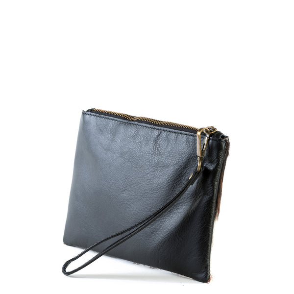 Cow Hair and Real Leather Clutch Bag