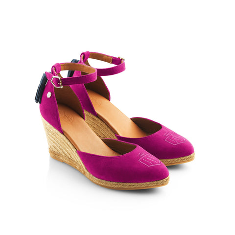 THE MONACO WEDGE FUSHIA HEELED ESPADRILLE - Fairfax & Favor