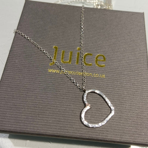 Sterling Silver hammered Heart Pendant & Chain