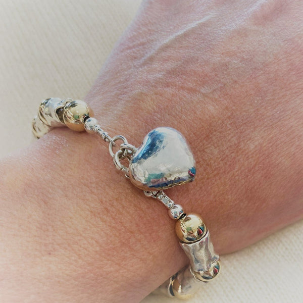 Silver Heart Charm 14ct Gold & Silver Chunky Bracelet