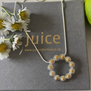 Sterling Silver & Gold Daisy Circle of Life Pendant & Chain