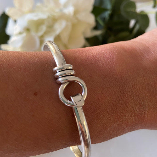 Solid Sterling Silver Spiral Loop Bangle.