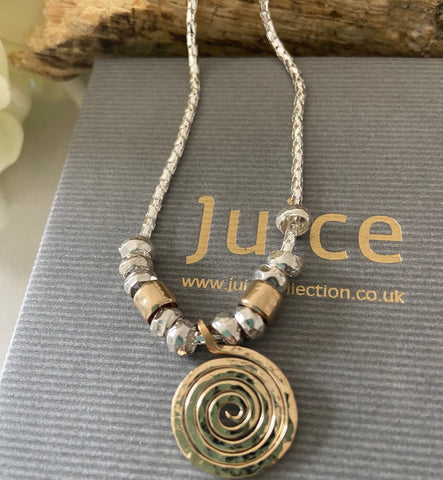 Gold & Sterling Silver Spiral Necklace