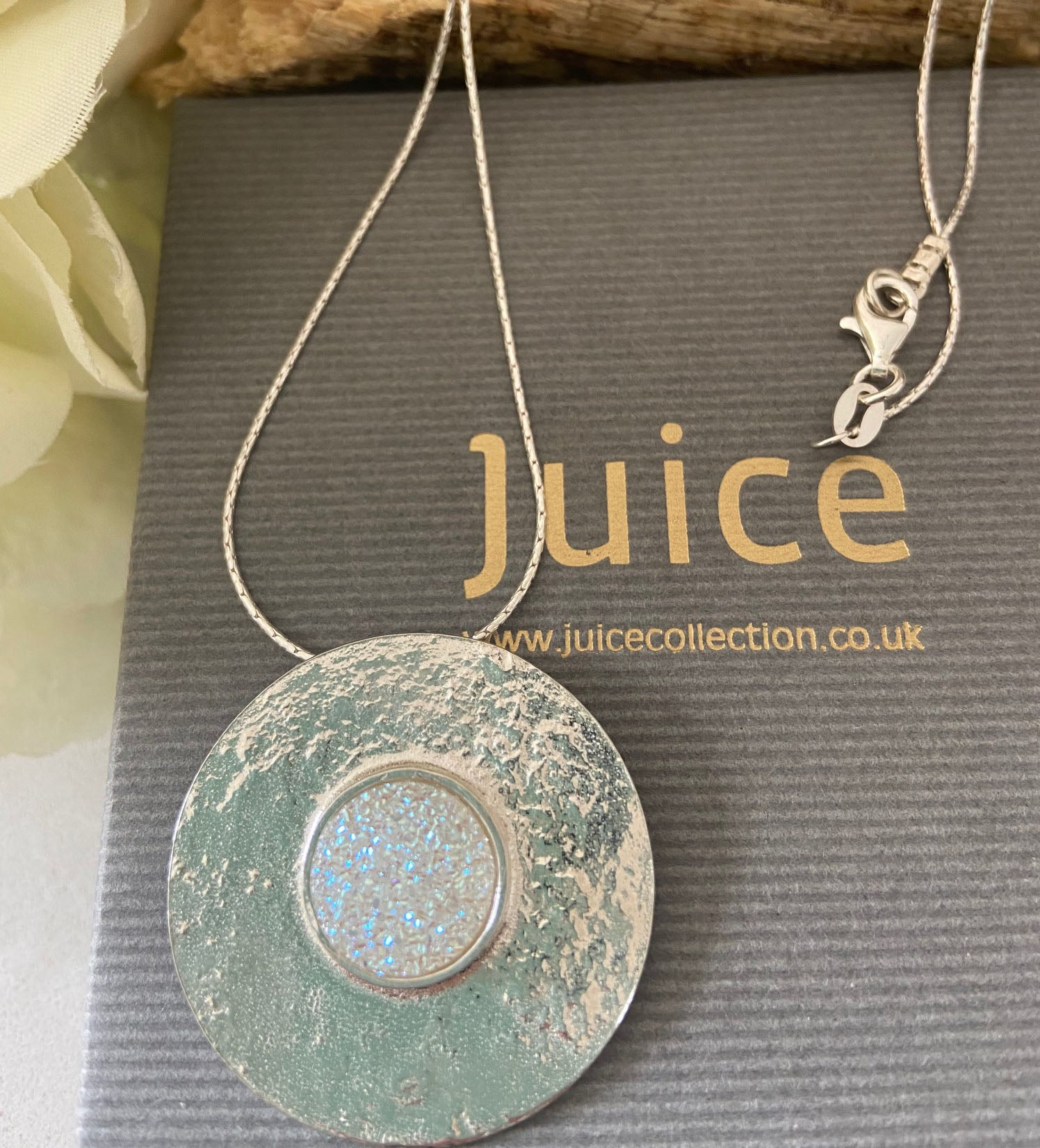Sold Silver Disc Pendant with Druzy Gemstone