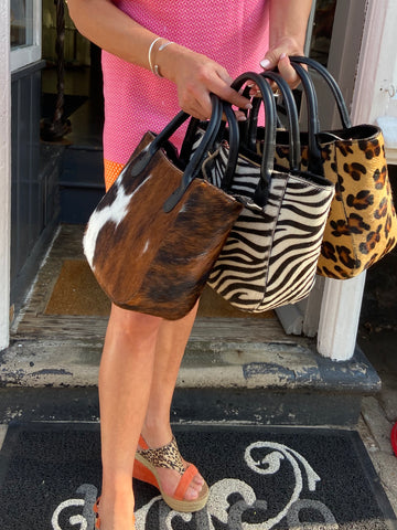 Leopard Cow Hair Small Leather Grab Bag