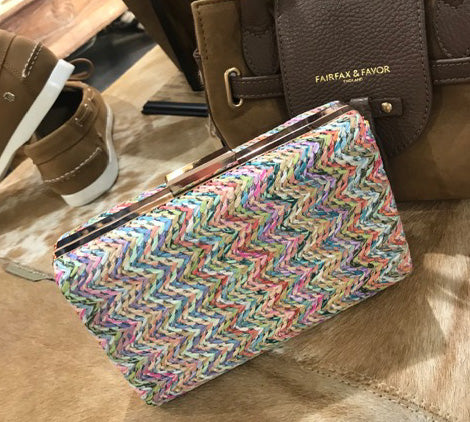 Pink Multi Braided Straw Box Clutch Bag
