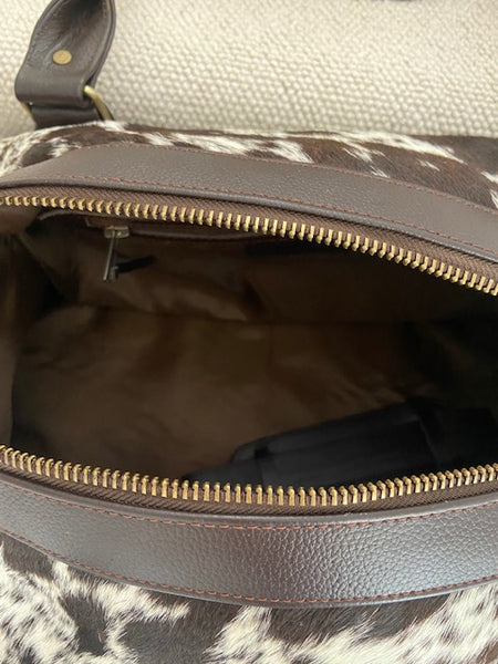 The Eastnor Leather Cowhide Overnight Weekend Holdall  by Juice - Brown
