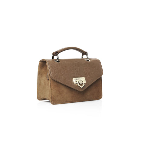 THE LOXLEY MINI TAN SUEDE AND LEATHER CROSS BODY BAG - Fairfax & Favor