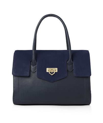 THE LOXLEY SHOULDER BAG NAVY LEATHER AND SUEDE HANDBAG - Fairfax & Favor