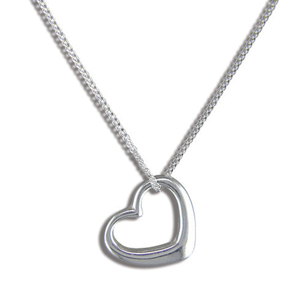 Sterling Silver Tiffany Style Heart Pendant & Chain