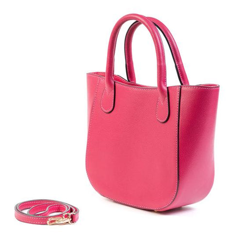 Raspberry Pink Real Leather Small Grab Bag