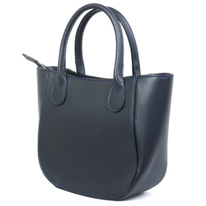Navy Real Leather Small Grab Bag