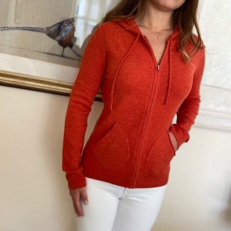 100% Pure Cashmere Hoodie Zipped - ORANGE