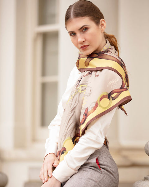 Hold Your Horses Sik Scarf by Clare Haggis - Toffee & Caramel