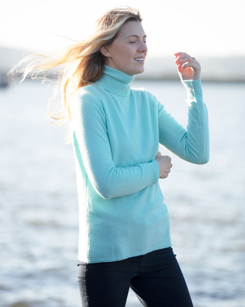 Pure Cashmere Polo Neck Sweater - SOFT TURQUOISE