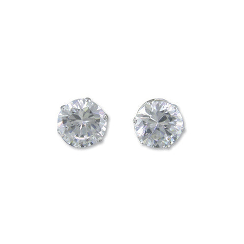 Sterling Silver & AA Zirconia Stone Stud Earrings